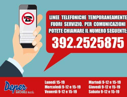 LINEE TELEFONICHE TEMPORANEAMENTE FUORI SERVIZIO